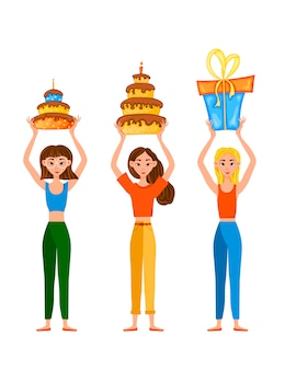 Cumpleaños con chicas y regalos. estilo de dibujos animados .