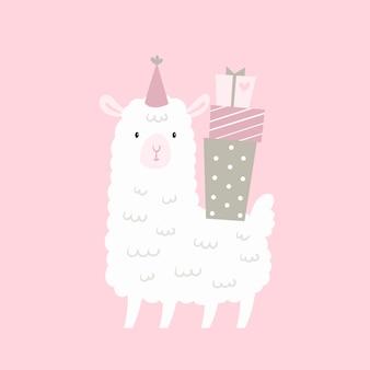 Cumpleaños de cordero lama con regalos.