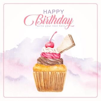 Cumpleaños con cupcake waffle ilustración acuarela
