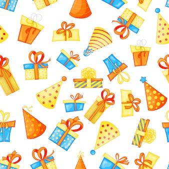 Cumpleaños sin fisuras patrón multicolor con gorras y regalos en blanco