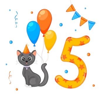 Cumpleaños con gato y número cinco.