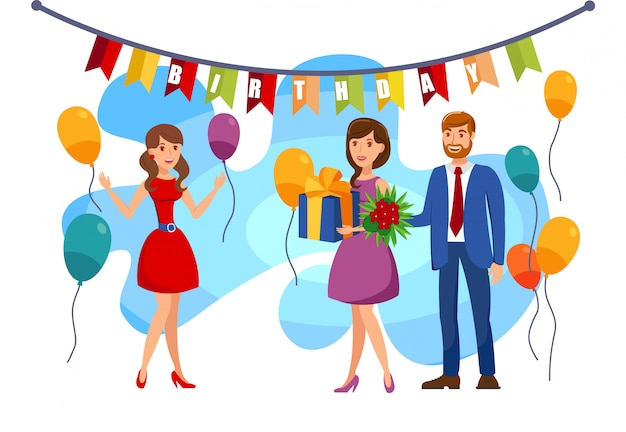 Cumpleaños, ilustración de color de fiesta sorpresa
