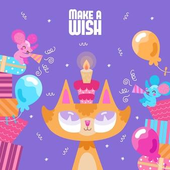 Cumpleaños ilustrado jengibre gato