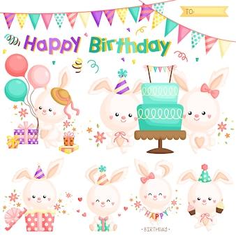 Cumpleaños lindo conejito