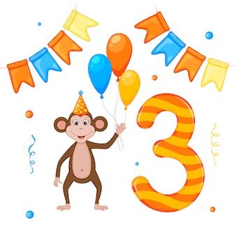 Cumpleaños con mono y número tres. estilo de dibujos animados