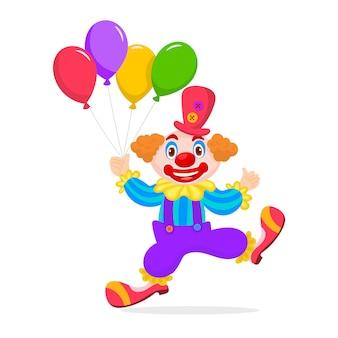 Cumpleaños niño payaso con globos montón