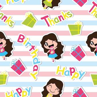 Cumpleaños patrón sin fisuras con lindo niña y cajas de regalo vector de dibujos animados