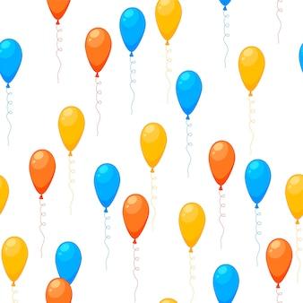 Cumpleaños de patrones sin fisuras multicolores con globos sobre un fondo blanco. estilo de dibujos animados. vector.