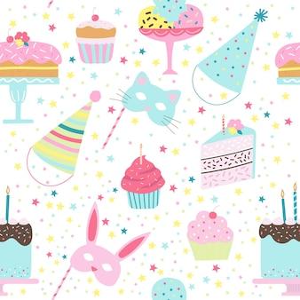 Cumpleaños de patrones sin fisuras con tortas, cupcakes, tapas de helado, máscaras de animales en filetes