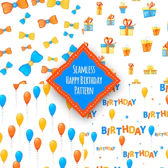 Cumpleaños con patrones multicolores sin fisuras sobre un fondo blanco. estilo de dibujos animados. vector.