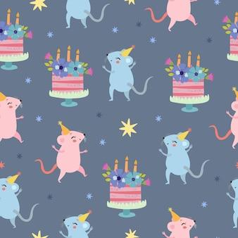 Cumpleaños con ratones y pastel de patrones sin fisuras
