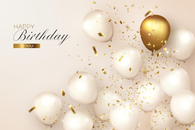 Cumpleaños realista con globos blancos y dorados.