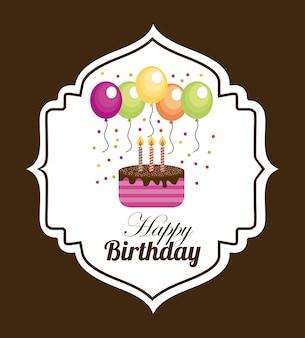 Cumpleaños sobre fondo marrón