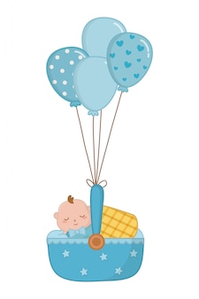 Cuna con bebé durmiendo ilustración