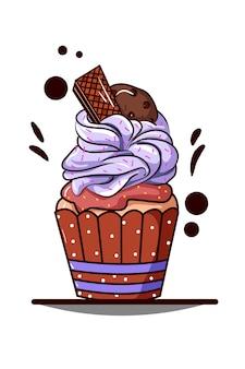 Cupcake con crema morada con barquillo y galleta de chocolate