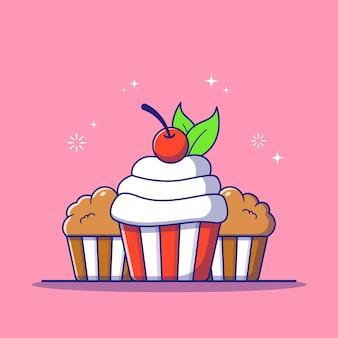 Cupcake dulce sabroso fresco con cereza y hoja
