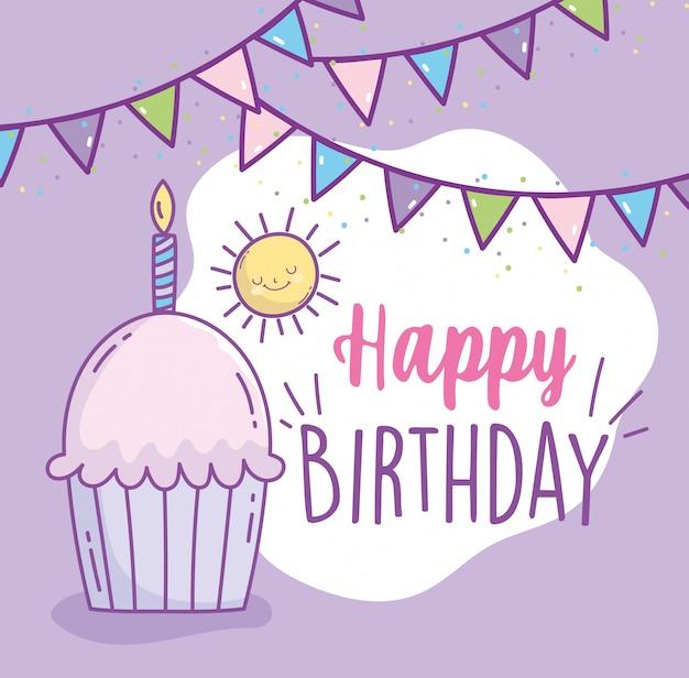 Cupcake de feliz cumpleaños con fiesta de celebración de dibujos animados de empavesado de velas