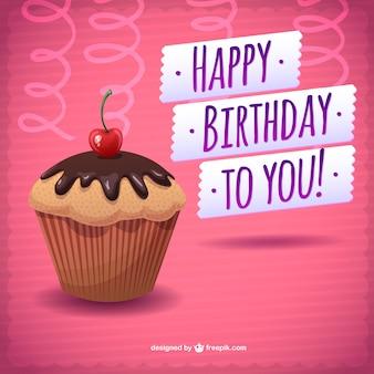 Cupcake con rótulo de feliz cumpleaños
