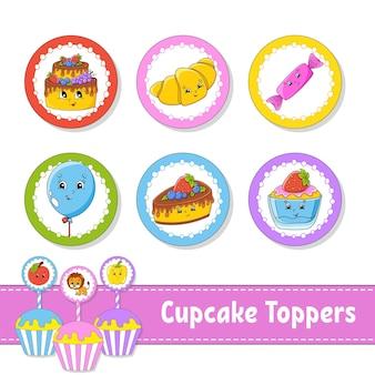 Cupcake toppers juego de seis imágenes redondas para fiesta de cumpleaños baby shower