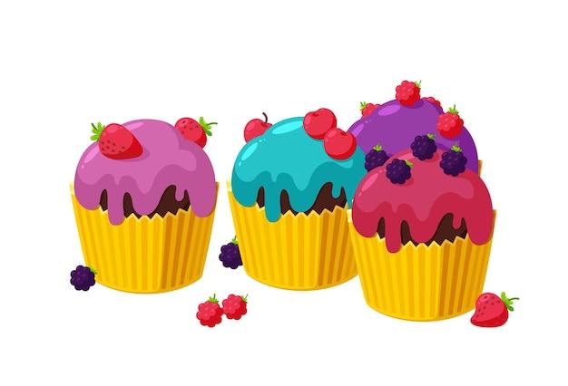 Cupcakes con cereza, frambuesa, mora y fresa juego de muffins de cumpleaños en vaso de papel