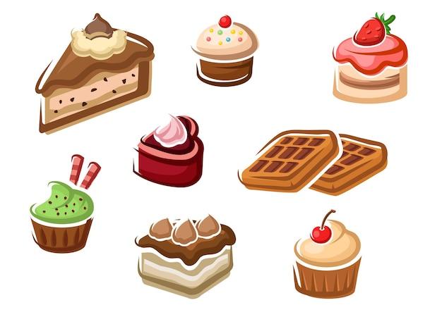 Cupcakes dulces, tartas, postres afrutados y gofres belgas con adornos de crema, frutas de cereza y fresa, chispas de chocolate y chispas