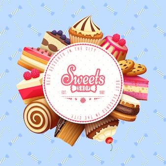 Cupcakes dulces tienda marco redondo fondo
