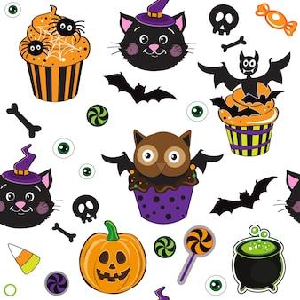 Cupcakes de halloween vector ilustración de patrones sin fisuras