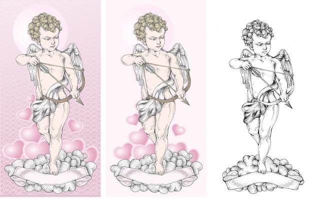 Cupido apunta al objetivo con un arco
