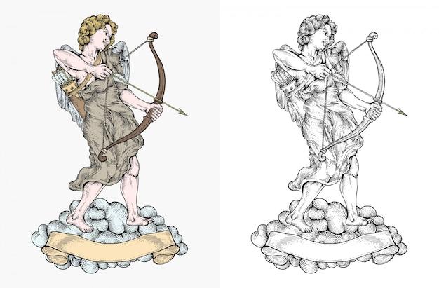 Cupido apunta al objetivo con su arco en la mano dibujado