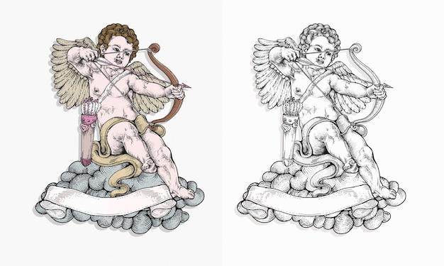 Cupido apuntando con su arco en la mano dibujando