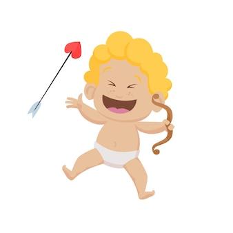 Cupido de dibujos animados alegre con arco y flecha