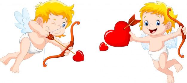 Cupido divertido con arco y flecha