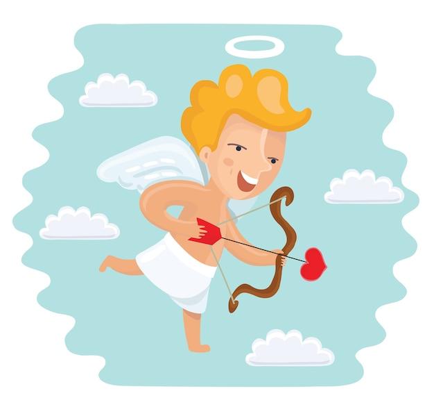 Cupido divertido de dibujos animados con arco y corazón en forma de punta de flecha