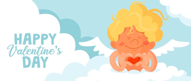 Cupido divertido lindo cruzó los dedos para formar un signo de corazón. banner o tarjeta de san valentín