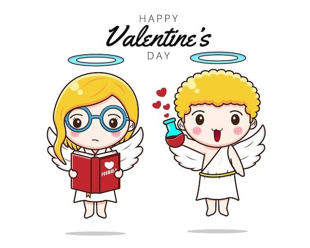 Cupido linda pareja con fórmula de amor