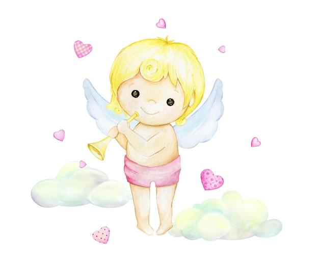 Cupido lindo, con una flauta, en el fondo de nubes y corazones.