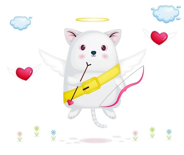 Cupido lindo flotando en el aire sosteniendo una flecha de amor