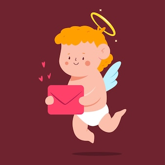 Cupido lindo con personaje de dibujos animados de carta de amor aislado sobre fondo.