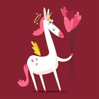 Cupido lindo unicornio con personaje de dibujos animados de globos en forma de corazón aislado sobre fondo.