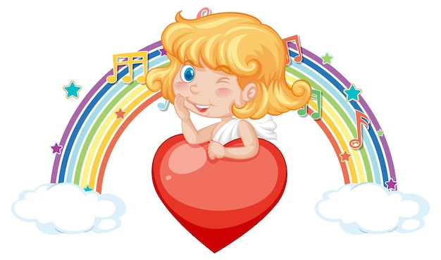 Cupido niña sosteniendo corazón con símbolos de melodía en arco iris
