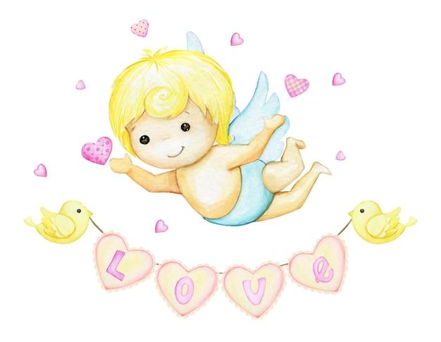 Cupido pequeño, guirnalda de corazones, nubes, pájaros.