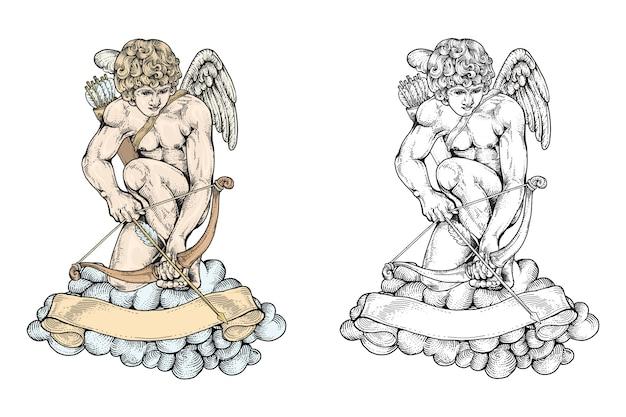 Cupido prepara su arco y flecha