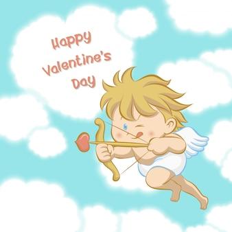 Cupido volando entre nubes en forma de corazón