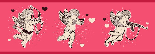 Cupidos con arco y flechas, con honda, con rifle de asalto. día de san valentín.