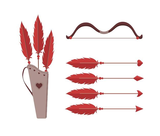 Cupidos flechas y arco ilustración