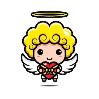 Cupidos lindos dan regalos en forma de corazón