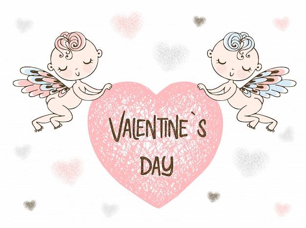 Los cupidos llevan un gran corazón. feliz día de san valentín.