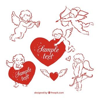 Cupidos rojos dibujados a mano