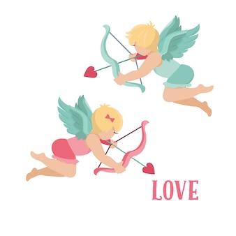 Cupidos de san valentín