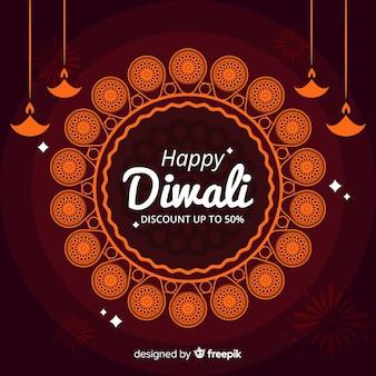 Cupón de descuento diwali banner de vacaciones